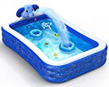 Hamdol Inflatable Swimming Pool, Kiddie Pool with Sprinkler, 99' X 72' X 22' Full-Sized Family Blow up Pool for Kids Toddlers Adults, Lounge Above Ground Pool for Backyard Garden Outdoor Summer Party