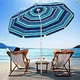 SERWALL 6.5FT Beach Umbrella UV 50+ Outdoor Portable Sunshade Umbrella with Sand Anchor, Push Button Tilt and Carry Bag for Patio Outdoor Garden Beach (Blue-White Stripe)