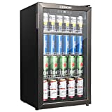 Euhomy Beverage Refrigerator and Cooler, 120 Can Mini fridge with Glass Door, Small Refrigerator with Adjustable Shelves for Soda Beer or Wine, Perfect for Home/Bar/Office, Black Stainless Steel