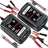 [2-Pack] LEICESTERCN 12V Battery Trickle Charger Maintainer Portable Smart Float Charger for Car Motorcycle Lawn Mower SLA AGM GEL CELL WET Lead Acid Batteries