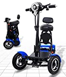 Foldable Mobility Scooter for Adults and Seniors, Lightweight & Long Range Four Wheel Mobility Scooters (Blue)