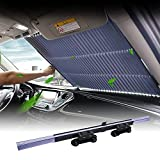 car sunshades for Windshield, Retractable car Sun Shade, Sunshade to Keep Your Vehicle Cool and Damage Free, UV Sun and Heat Reflector, Easy to Use, 2021 New