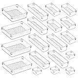 Kootek 19 Pcs Drawer Organizers 5-Size Makeup Desk Drawer Organizer Plastic Bathroom Storage Bins Versatile Trays Vanity Dividers Container for Bedroom Dresser Kitchen Office