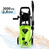 WHOLESUN 3000PSI Pressure Washer Electric 1.8GPM 1600W High Power Washer Machine with Spray Gun & 5 Nozzles(Green)
