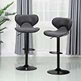 ALPHA HOME Bar Stools Counter Height Adjustable Swivel Bar Chair Modern Pu Leather Kitchen Counter Stools Dining Chairs Set of 2,350 lbs Capacity,Grey