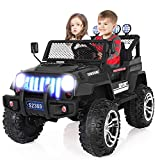 angstep 2 Seater Kids Electric Car, 12v Battery Car for Kids w/2.4G Remote Control, Spring Suspension, LED Lights, Horn, Bumper Guard, Openable Doors Black