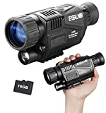 ESSLNB Night Vision Monocular 5X40 HD Night Vision Infrared Monocular with 1.5' TFT LCD Take Photos and Videos Playback Function 16G TF Card Digital Night Vision Scopes for Hunting Security Surveilla