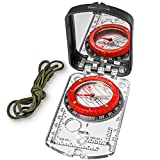 TurnOnSport Sighting Compass Mirror Adjustable Declination - Boy Scout Compass Hiking Survival - Map Reading Compass Orienteering - Mirror Compass Hunting Fishing - Compass Backpacking Camping (Red)