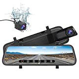 junsun Mirror Dash Cam Backup Camera 10 Inch Touch Screen 1080P Stream Media Dual Lens Full HD Reverse Camera 170 Degrees Wide Angle with Backup Camera G-Sensor Parking Monitor