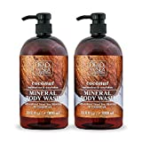 Dead Sea Collection Mineral Body Wash with Coconut Oil Moisturizes and Nourishes Set of 2 (33.8 fl.oz each) total of 67.6 fl.oz