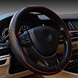 Valleycomfy Universal 15 inch Auto Car Steering Wheel Cover with Black Genuine Leather add Red Lines for X1 X3 X5 335i 535i HRV CRV Accord Corolla Prius,etc