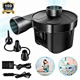 Electric Air Pump Air Mattress Pump Portable Quick-Fill with 3 Nozzles, 110V AC/12V DC Inflator Deflator Pumps for Outdoor Camping, Inflatable Cushions, Air Mattress Beds, Swimming Ring (Black)