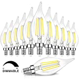 Dimmable E12 Candelabra LED Bulbs 60 Watt Equivalent, 5000K Daylight White, Clear Filament LED Chandelier Light Bulbs 6W, 600lm, CA11 Vintage Ceiling Fan Light Bulb with Flame Tip, 12-Pack