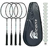 Falconz Badminton Set - 4 Graphite-Glass Fiber Rackets (80g-84g), 12 Goose Feather Shuttlecocks and 2 Racket Bags