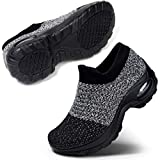 Women's Slip-On Mesh Walking Shoes Nurse Shoes Casual Moccasin Loafers Driving Shoes, Grey Black Size 9