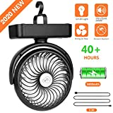 5000mAh Battery Camping Fan with LED Lights-40 Working Hours Max Tent Fan Light with Hanging Hook-Rechargeable Battery Operated USB Desk Fan for Tent Car RV Hurricane Emergency Outages