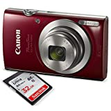 Canon PowerShot ELPH 180 Digital Camera (Red) w/ 32GB SD Card