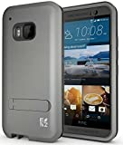 ECOZ [SHIELDX] Protective Tough 3 Layers Armor Rugged Case Cover with Build-In Stand for HTC One M9 (Grey)