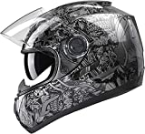GLX Unisex-Adult GX15 Lightweight Full Face Motorcycle Street Bike Helmet with Internal Sun Visor DOT Approved (Skull, Small)