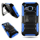 HTC One M9 Holster Case, CoverON [Explorer Series] Protective Armor Belt Clip Kickstand Shockproof Phone Cover Case for HTC One M9 - Blue & Black