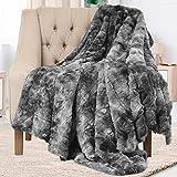 Everlasting Comfort Luxury Faux Fur Throw Blanket - Soft, Fluffy, Warm, Cozy, Plush (Gray)