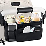 Mestron Universal Stroller Organizer Bag with Insulated Cup Holder- Detachable Zippered Bag & Adjustable Strap, Fits for All Baby Stroller Models like Uppababy, Baby Jogger, Britax, Bugaboo