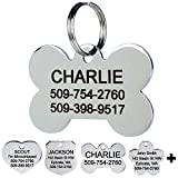 GoTags Pet ID Personalized Dog and Cat Tags. Stainless Steel. Custom Engraved with up to 8 Lines of Text. Front and Backside Engraving. Bone Shape Regular.