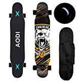 AODI 46' Longboard Skateboard Complete Canadian Maple Wood Double Kick Concave Maple Pro Beginner Dance Board with LED PU Wheels for Kids Adults