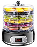 Elechomes 6-Tray Food Dehydrator, Faster Drying for Beef Jerky, Meat, Fruit, Dog Treats, Herbs, Vegetable, Digital Time & Temperature Control, Overheat Protection, Fruit Roll Sheet Included, BPA Free