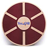 Yes4All Wooden Wobble Balance Board - Wobble Board for Physical Therapy, Exercise Balance Stability Trainer (Red)