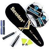 Senston 2 Pieces Badminton Set, Lightweight Graphite Shaft Badminton Racket Including Premium Badminton Bag, 2 Badminton Shuttlecock, 2 Racquet Grip