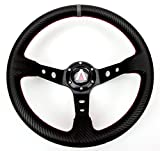 Tanaka 350mm Deep Dish 6 Bolt PU Carbon Fiber Steering Wheel (Universal)