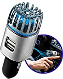 Craftronic® NanoActive™   Car Air Purifier Ionizer & Dual Fast Charge USB   5.6 Million Negative Ion Anti-Microbial, Eliminates PM 2.5 Smoke, Pollutants, Odors, Dander, Dust   Relieve Allergy (Silver)