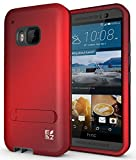 ECOZ [SHIELDX] Protective Tough 3 Layers Armor Rugged Case Cover with Build-In Stand for HTC One M9 (Red)