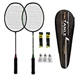 N\\A Badminton Racquet Light Racket Set,2 Pack Carbon Fiber Badminton Rackets Badminton Racquet for Backyards Gym,with Carry Bag and grip-72g…