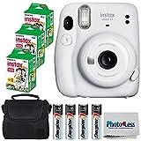 Fujifilm Instax Mini 11 Instant Camera - Ice White (16654798) + 3x Packs Fujifilm Instax Mini Twin Pack Instant Film + Batteries + Case - Instant Camera Bundle