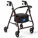 Medline - B079PG3BR3 Rollator Walker with Seat, Steel Rolling Walker with 6-inch Wheels Supports up to 350 lbs, Medical Walker, Burgundy