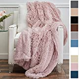 The Connecticut Home Company Shag with Sherpa Reversible Throw Blanket, Super Soft, Large Plush Wrinkle Resistant Blankets, Warm Hypoallergenic Washable Couch or Bed Throws, 65x50, Dusty Rose