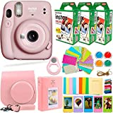 Fujifilm Instax Mini 11 Camera with Fujifilm Instant Film (60 Sheets) + Deals Number ONE Accessories Bundle Includes Case, Filters, Album, Lens, and More (Blush Pink)