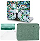 KECC Laptop Case for MacBook Pro 13' (2019/2018/2017/2016,Touch Bar) w/Keyboard Cover + Sleeve + Screen Protector (4 in 1 Bundle) Hard Shell A2159/A1989/A1706/A1708 (Colorful Tree)