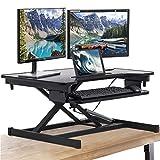 FDW Adjustable Height 32 Inches Steel Standing Desk Coverter Stand Up Desk Home Office Computer Desk Workstation,Black