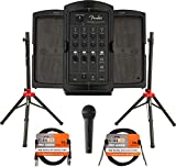 Fender Passport Conference S2 Portable PA System Bundle with Compact Speaker Stands, Microphone, XLR Cable, and Instrument Cable
