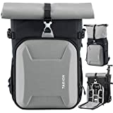 TARION XH Camera Bag Hardcase Camera Case Roll Top Camera Backpack   15' Laptop Compartment Waterproof Raincover for DSLR Mirrorless Cameras Lens Tripod Outdoor Men Women Color Silver