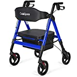 OasisSpace Heavy Duty Rollator Walker - Bariatric Rollator Walker with Large Seat for Seniors Support Up 450 lbs (Blue)
