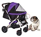 HPZ Pet Rover XL Extra-Long Premium Heavy Duty Dog/Cat/Pet Stroller Travel Carriage with Convertible Compartment/Zipperless Entry/Pump-Free Rubber Tires for Small, Medium, Large Pets (Purple)