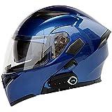 TKer Bluetooth Integrated Motorcycle Helmet, Anti-Glare Full Face Flip Up Dual Visors Modular Bike Motorcross Helmets for Adult Men and Women, DOT Certification,Blue,M