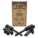 Swiss Safe 5-in-1 Fire Starter, for Emergency Survival Kits, Camping, Hiking, Black, 2 Pack