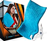 MIGHTY BLISS Large Electric Heating Pad for Back Pain and Cramps Relief -Extra Large [12'x24'] - Auto Shut Off - Heat Pad with Moist & Dry Heat Therapy Options - Hot Heated Pad