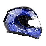 Typhoon TH158 Modular Motorcycle Helmet DOT Dual Visor Full Face Flip-up - Blue Medium