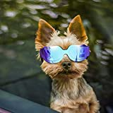 Enjoying Small Dog Sunglasses - Dog Goggles for UV Protection Snow-Proof Windproof Goggles with Adjustable Band for Puppy Cat - Blue